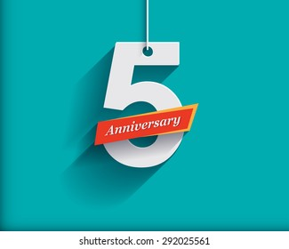 5 Anniversary numbers with ribbon. Flat origami style with long shadow. Vector illustration