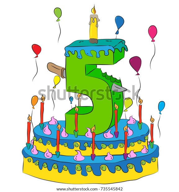 Fabulous 5 Birthday Cake Number Five Candle Stock Vector Royalty Free Personalised Birthday Cards Cominlily Jamesorg