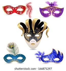 5 bright carnival masks