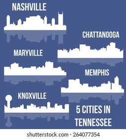 5 Cities in Tennessee (Nashville, Knoxville, Memphis, Chattanooga, Maryville)