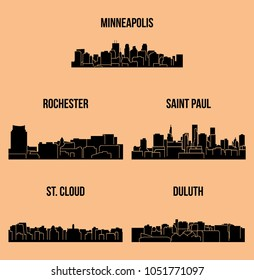 5 City Silhouette in Minnesota ( Minneapolis, Rochester, Saint Paul, St. Cloud, Duluth )