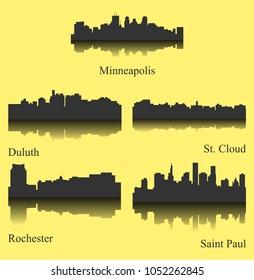5 City Silhouette in Minnesota ( Minneapolis, Rochester, Saint Paul, St. Cloud, Duluth )