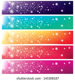 5 colorful banners with shining sun for web