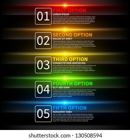 5 colorful glowing options. Useful for presentations or web design. Useful for presentations or web design.