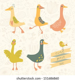 5 cute geese in vector set. Cartoon geese in childish style. Funny birds of floral wallpaper
