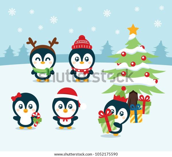 5 Cute Little Christmas Penguin Christmas Stock Vector