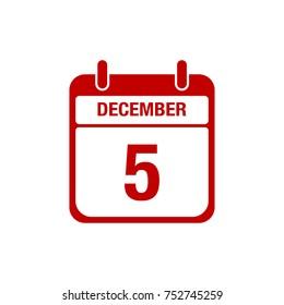 5 december calendar red icon