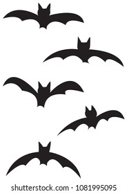 5 different bat silhouettes isolated on a white background