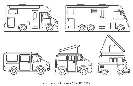 5 different campers as contour drawings