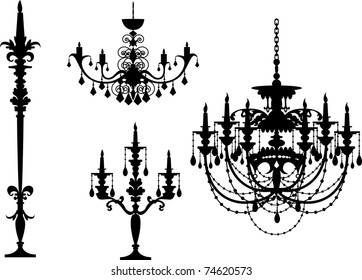 5 different illustrator black chandelier sihouette