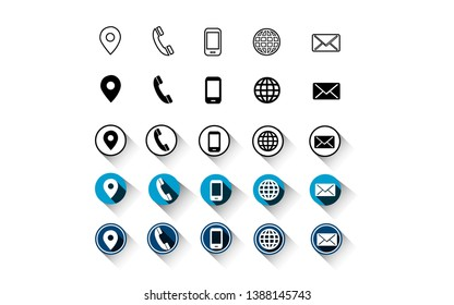 5 different style contact information icon , all are 25 icons