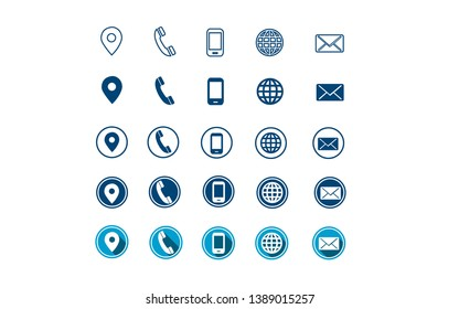5 different style contact information icon in vector format