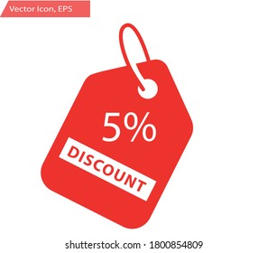 5% Discount Sticker. Sale discount icons. Special offer price signs. Discount Red Tag Isolated Vector Illustration.