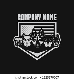 5 dog USA flage shield security design for your company or brand