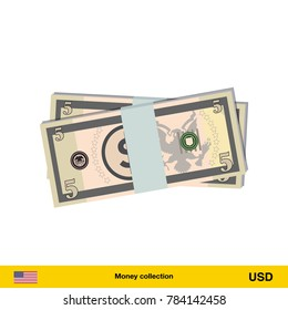 5 Dollar banknote. Dollar banknote vector illustration.