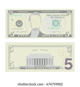 5 Dollars Banknote Vector. Cartoon US Currency. Two Sides Of Five American Money Bill Isolated Illustration. Cash Symbol 5 Dollars