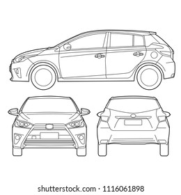 5 doors hatchback city car front side back diagram drawing outline isolate on white background vector illustrations