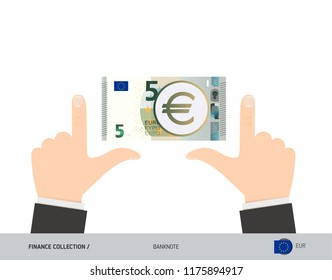 5 Euro Banknote. Business hands measuring banknote. Flat style vector illustration. Business finance concept.