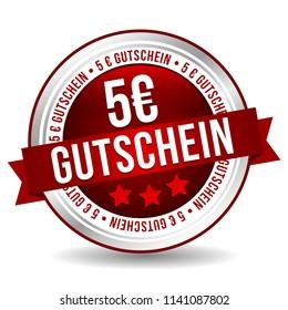 5 Euro Coupon Button - Online Badge Marketing Banner with Ribbon. German-Translation: 5 Euro Gutschein