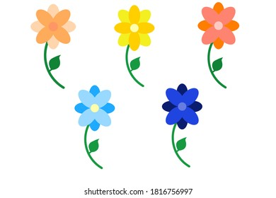 5 flower icon set with different colors