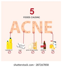 5 foods causing acne info graphics illustration, vector