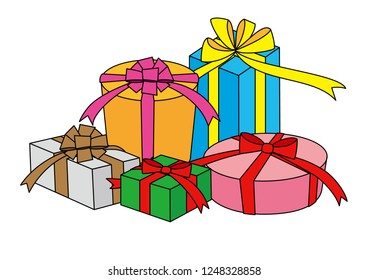 5 gift boxes illustration