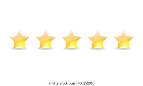 5 gold star set vector illustration