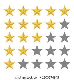 5 golden star in a row rating. Review and feedback. Stars in the row. Ranking product system. Isolated flat vector illustration