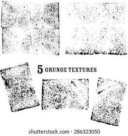 5 Graphic grunge vectors. Dry ink dabbed on paper by sponge. Create cool graphic effects and backgrounds.