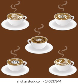 5 Graphic Vector Set Of Latte Art Coffee