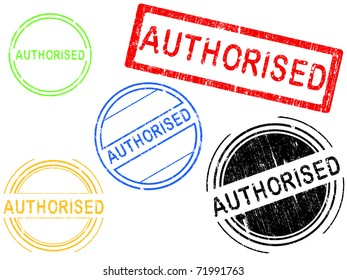5 Grunge effect Office Stamp with the word AUTHORISED in a grunge splattered text. (Letters have been uniquely designed and created by hand)