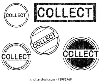 5 Grunge effect Office Stamp with the word COLLECT in a grunge splattered text. (Letters have been uniquely designed and created by hand)