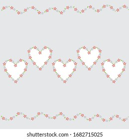 5 heart shape copy space with flower border on  light gray color background