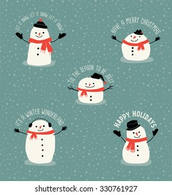 5 Holiday design elements with snowmen in simple flat style