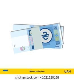 5 hryvnia banknote.  hryvnia banknote vector illustration.