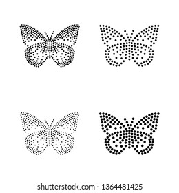 5 inch Wide Vector Butterfly-shaped Blackline for Rhinestones or studs.