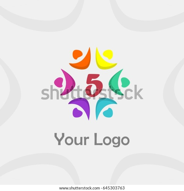 5 Letter Brand Identity Unity People Stock Vector (Royalty