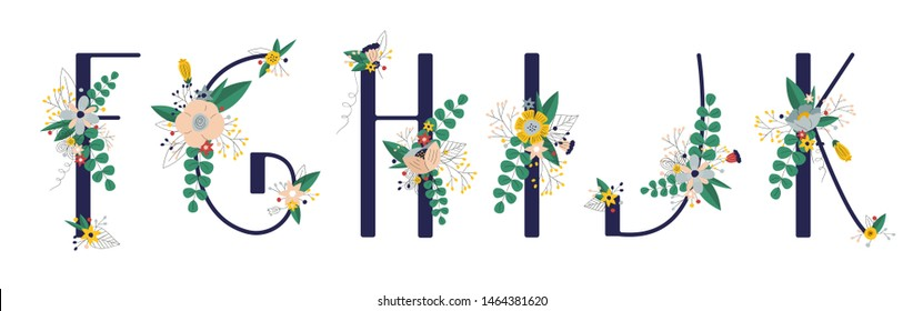 Сollection with 5 letter of floral alphabet - f, g, h, i, j, k. Spring and summer alphabet decorated with bouquets of flowers. Hand drawn isolated vector illustration