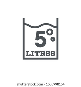 5 Liters l sign (l-mark) estimated volumes milliliters (ml) Vector symbol packaging, labels used for prepacked foods, drinks different liters and milliliters. 5 litre vol single icon isolated on white