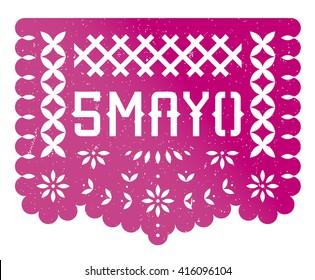 5 Mayo Banner Party, paper cut, mexican celebration, Puebla battle, magenta, grunge