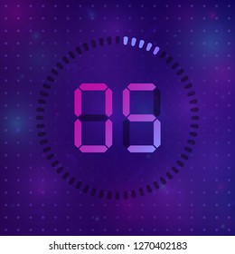 The 5 minutes, stopwatch vector icon, digital timer. Vector digital count down circle board with circle time pie diagram. Watch outline style design, designed for web and app.