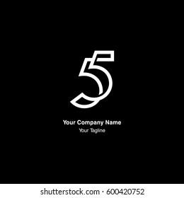 5 number monogram, negative space
