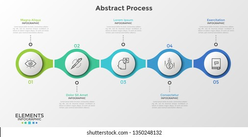 5 numbered round elements with thin line icons inside successively connected into horizontal chain. Minimal infographic design template. Vector illustration for presentation, banner, website, report.