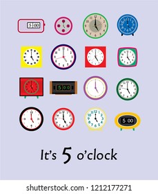 it's 5 o'clock vector. vintage clock in 5pm vector illustration.