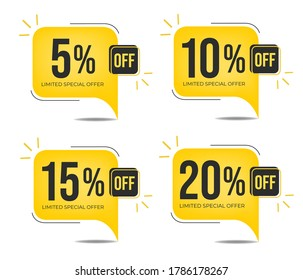 5% off, 10% off, 15%0ff and 20% off. Set of tag discounts. Banner with four yellow balloons with special offers vector.