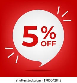 5% off. Banner with five percent discount. White bubble on a red background vector.
