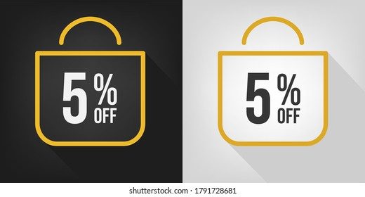 5% off. Black, white and yellow banner with five percent discount. Shopping bag concept vector.