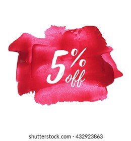5% OFF card, poster, logo, lettering, words, text written on red pink painted background vector illustration