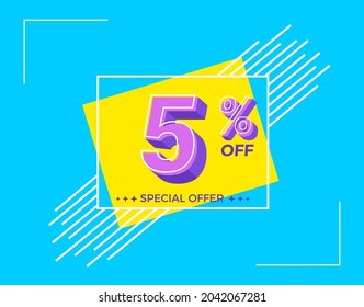 5% OFF Sale. Discount price. Special offer. Discount promotion. Special offer with sale discount. Banner for 5% off offers. Design Template Concept