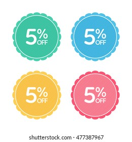 5% off. Sale and discount price badge sticker. Concept Shopping.